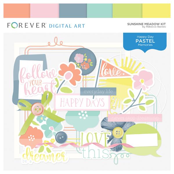Sunshine Meadow Kit Digital Art - Digital Scrapbooking Kits