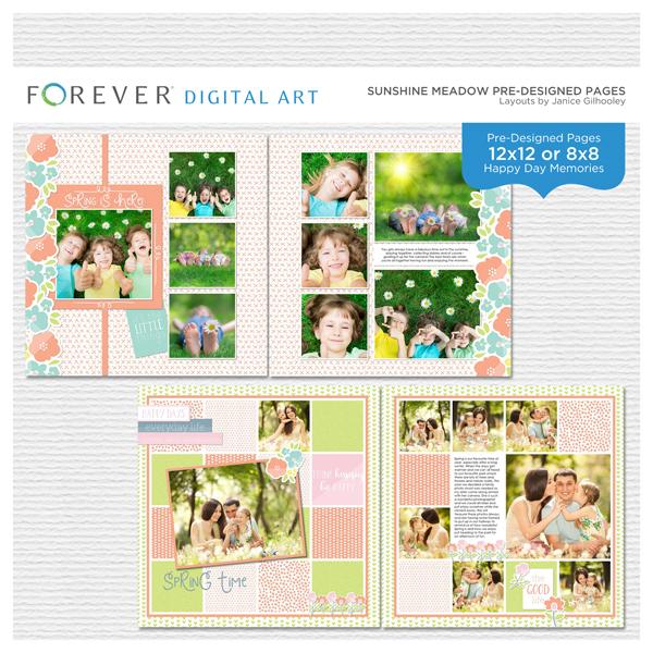 Sunshine Meadow Pre-designed Pages Digital Art - Digital Scrapbooking Kits