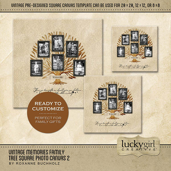 Vintage Memories Family Tree Square Canvas 2 Digital Art - Digital Scrapbooking Kits