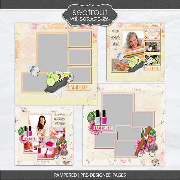 Pampered - Predesigned Pages Digital Art - Digital Scrapbooking Kits