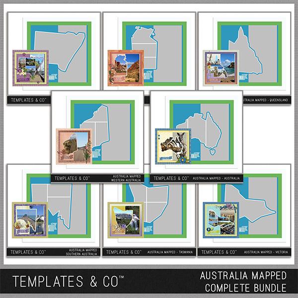 Australia Mapped - Complete Bundle Digital Art - Digital Scrapbooking Kits