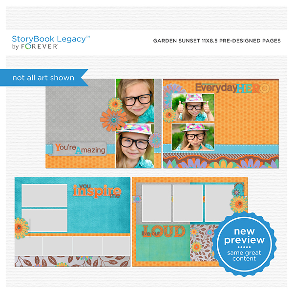 Garden Sunset 11x8.5 Predesigned Pages Digital Art - Digital Scrapbooking Kits