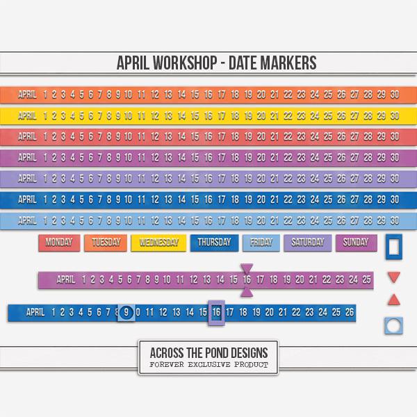 April Workshop - Date Markers Digital Art - Digital Scrapbooking Kits