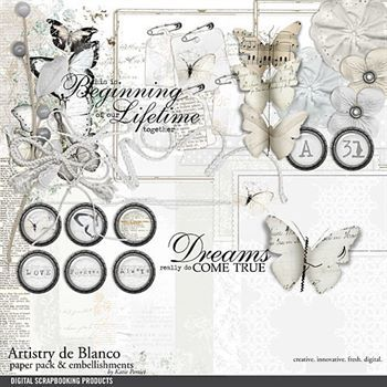Artistry De Blanco Kit Digital Art - Digital Scrapbooking Kits
