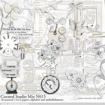 Curated Studio Mix Scrapbooking Kit No. 15 Digital Art - Digital Scrapbooking Kits