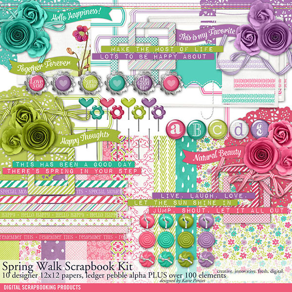 Spring Walk Scrapbook Kit Digital Art - Digital Scrapbooking Kits