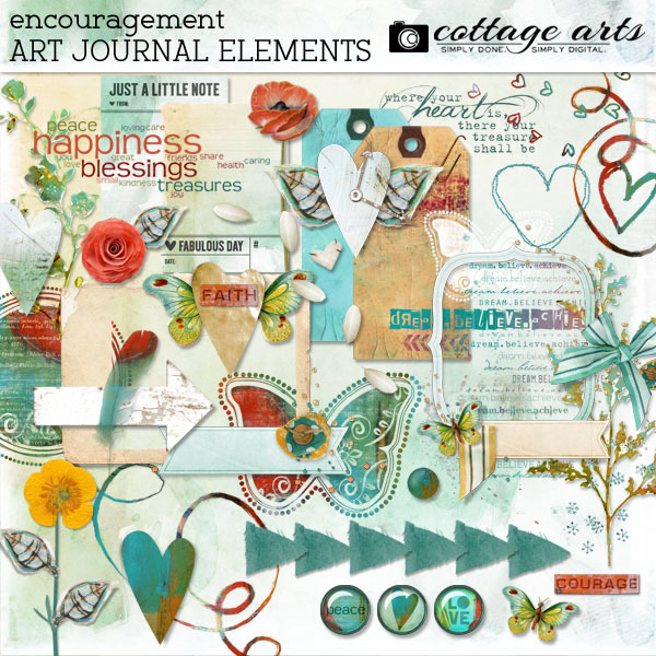 Encouragement Art Journal Element Pak Digital Art - Digital Scrapbooking Kits