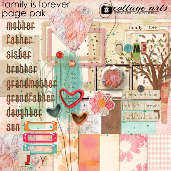 Family Is Forever Page Pak Digital Art - Digital Scrapbooking Kits