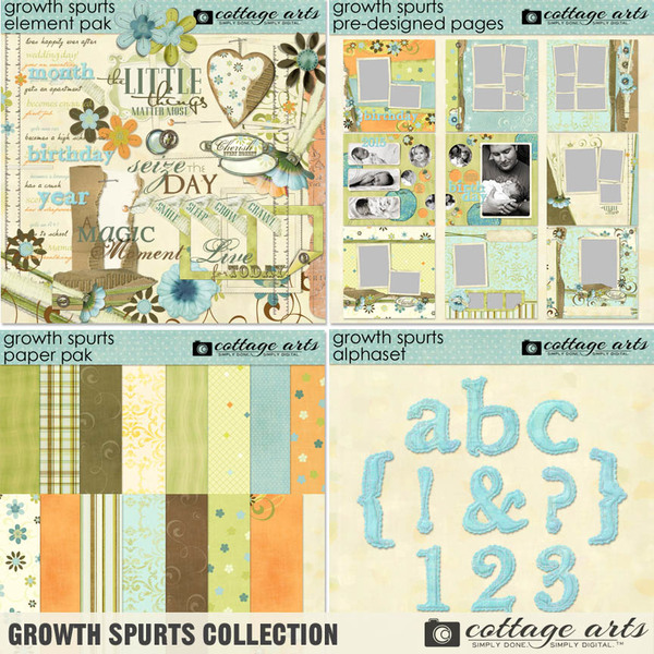 Growth Spurts Collection Digital Art - Digital Scrapbooking Kits