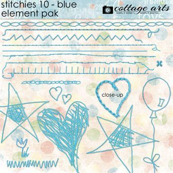 Stitchies 10 - Blue Element Pak Digital Art - Digital Scrapbooking Kits