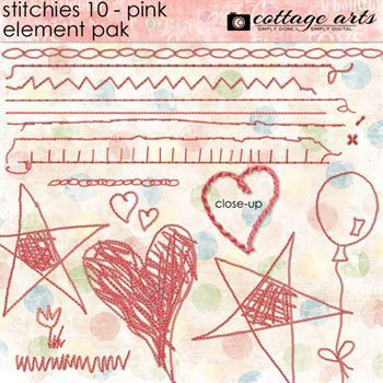 Stitchies 10 - Pink Element Pak Digital Art - Digital Scrapbooking Kits