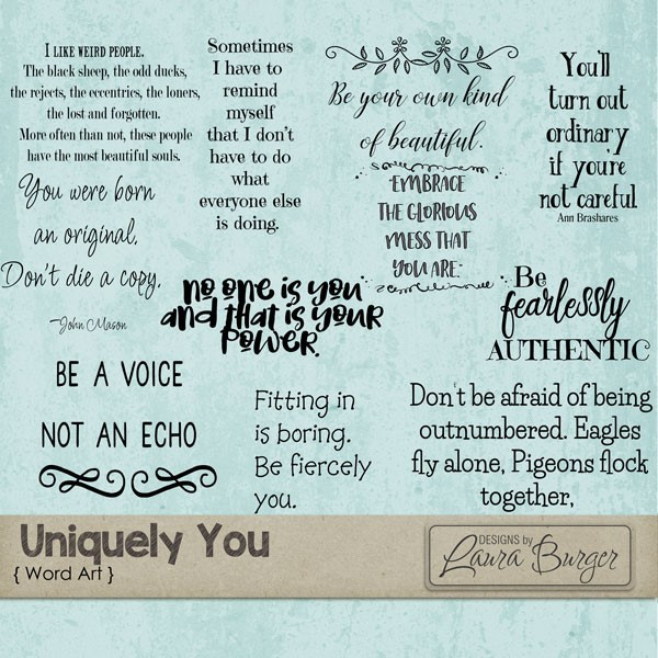 Uniquely You Word Art Digital Art - Digital Scrapbooking Kits