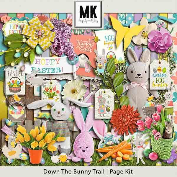 Down The Bunny Trail Collection - Page Kit Digital Art - Digital Scrapbooking Kits
