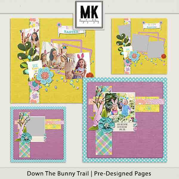 Down The Bunny Trail Collection - Pre-designed Pages Digital Art - Digital Scrapbooking Kits