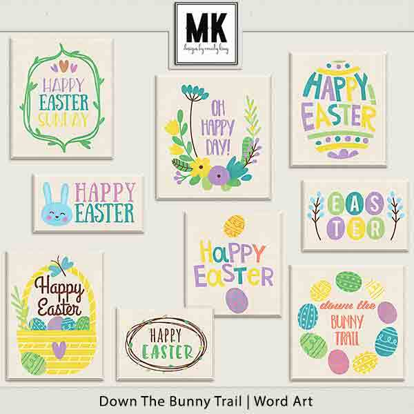 Down The Bunny Trail Collection - Word Art Digital Art - Digital Scrapbooking Kits