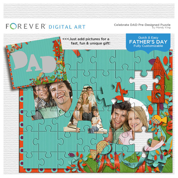 Celebrate Dad Pre-designed Puzzle Digital Art - Digital Scrapbooking Kits