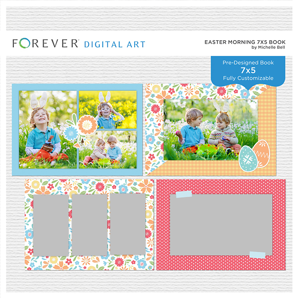Easter Morning 7x5 Book Digital Art - Digital Scrapbooking Kits