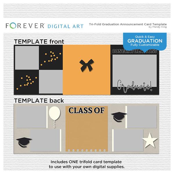 Tri-fold Graduation Announcement Card Template