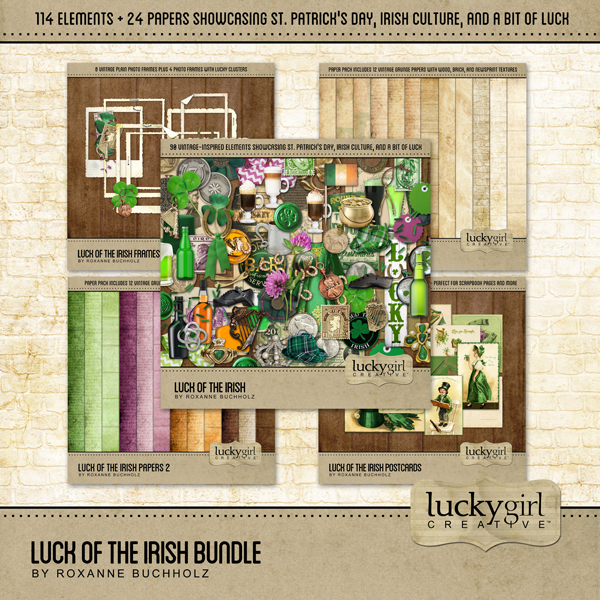 Luck Of The Irish Bundle Digital Art - Digital Scrapbooking Kits