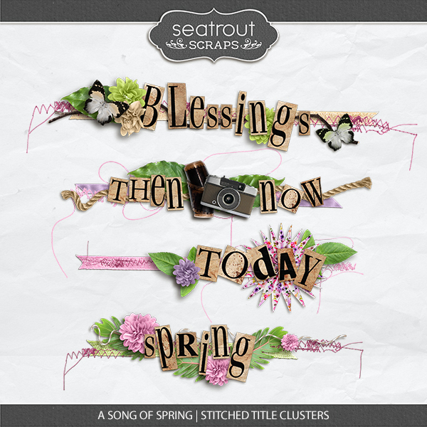 A Song Of Spring Stitched Title Clusters Digital Art - Digital Scrapbooking Kits