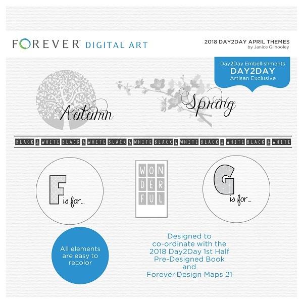 2018 Day2Day April Themes Digital Art - Digital Scrapbooking Kits