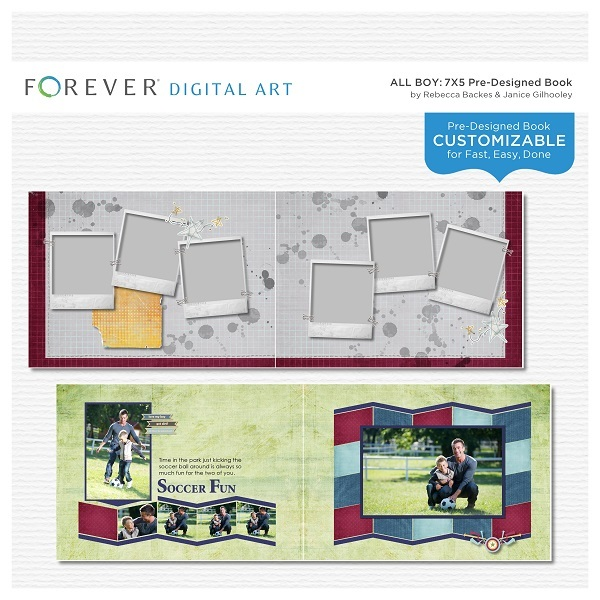 All Boy Pre-designed Book 7x5 Digital Art - Digital Scrapbooking Kits