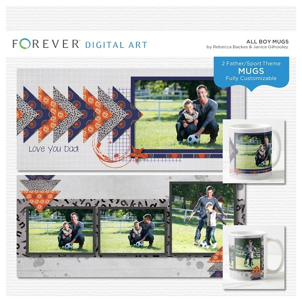 All Boy Mugs Digital Art - Digital Scrapbooking Kits