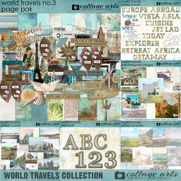 World Travels Collection Digital Art - Digital Scrapbooking Kits