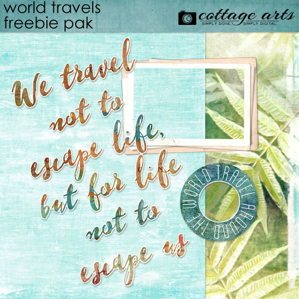 World Travels Freebie Pak Digital Art - Digital Scrapbooking Kits