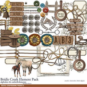 Bridle Creek Element Pack Digital Art - Digital Scrapbooking Kits