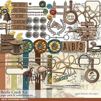 Bridle Creek Horse Scrapbook Kit Digital Art - Digital Scrapbooking Kits