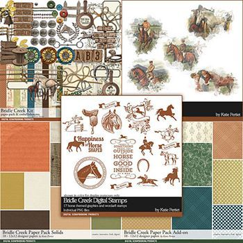 Bridle Creek Horse Scrapbooking Collection Digital Art - Digital Scrapbooking Kits