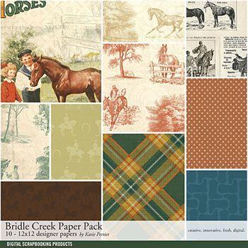 Bridle Creek Paper Pack Digital Art - Digital Scrapbooking Kits