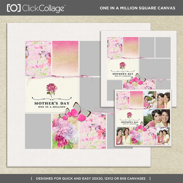 One In A Million Square Canvas Digital Art - Digital Scrapbooking Kits