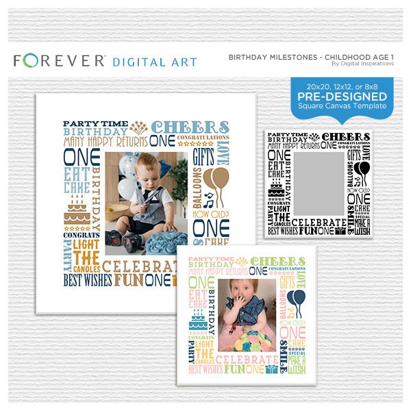 Birthday Milestones - Childhood Age 1 Digital Art - Digital Scrapbooking Kits