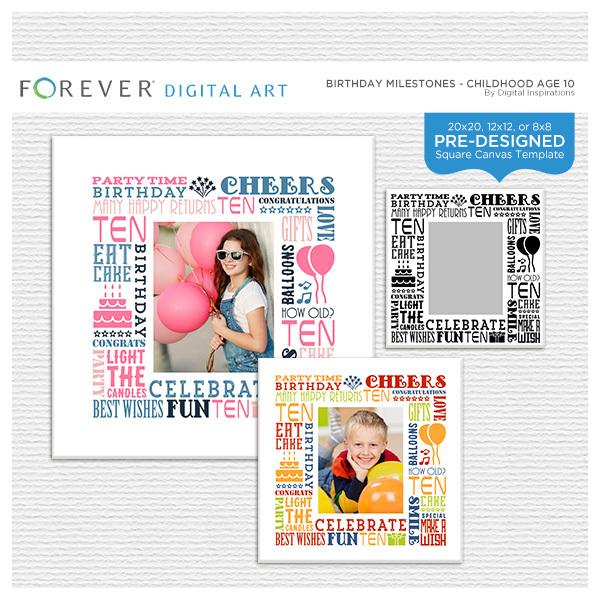 Birthday Milestones - Childhood Age 10 Digital Art - Digital Scrapbooking Kits