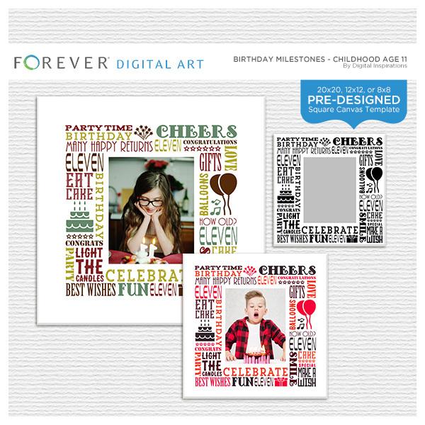 Birthday Milestones - Childhood Age 11 Digital Art - Digital Scrapbooking Kits