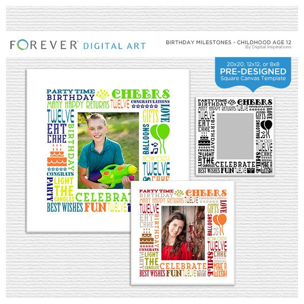 Birthday Milestones - Childhood Age 12 Digital Art - Digital Scrapbooking Kits