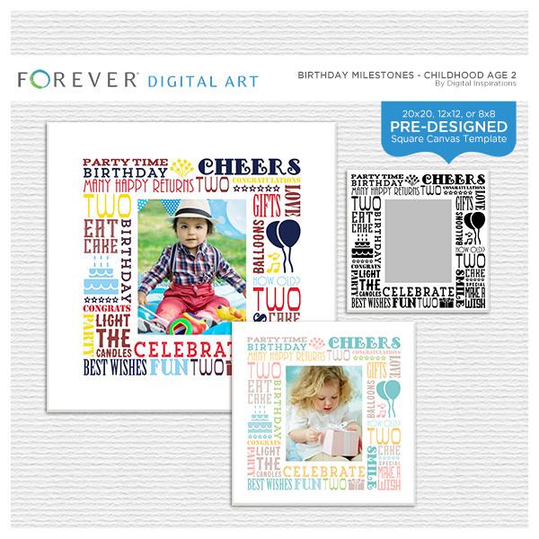 Birthday Milestones - Childhood Age 2 Digital Art - Digital Scrapbooking Kits