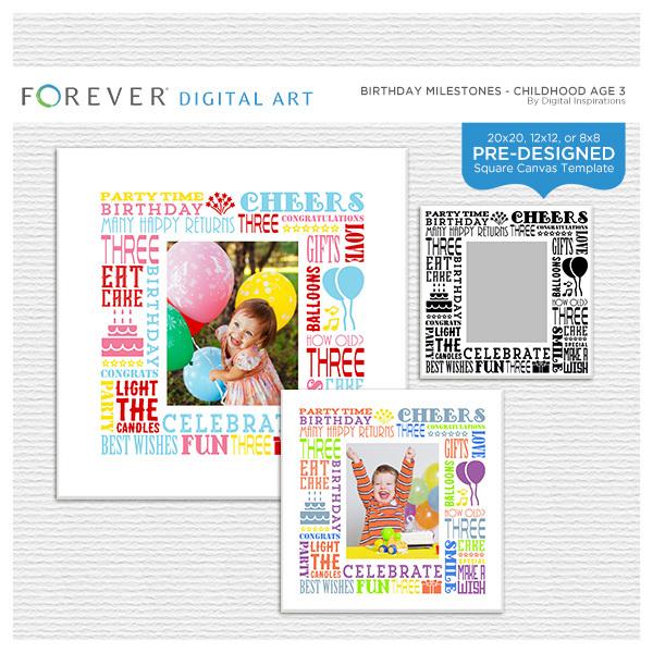 Birthday Milestones - Childhood Age 3 Digital Art - Digital Scrapbooking Kits