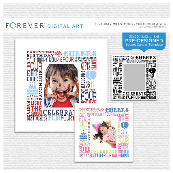 Birthday Milestones - Childhood Age 4 Digital Art - Digital Scrapbooking Kits
