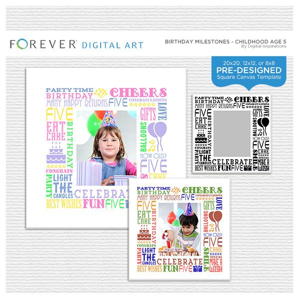 Birthday Milestones - Childhood Age 5 Digital Art - Digital Scrapbooking Kits