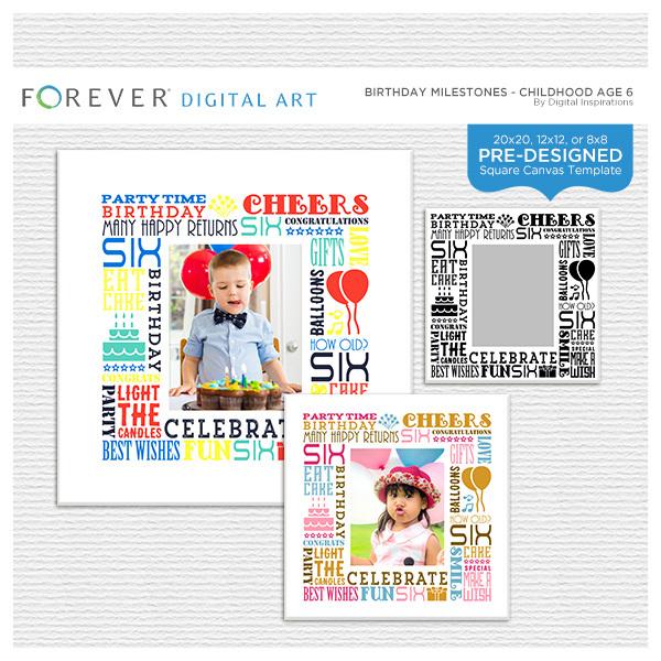 Birthday Milestones - Childhood Age 6 Digital Art - Digital Scrapbooking Kits