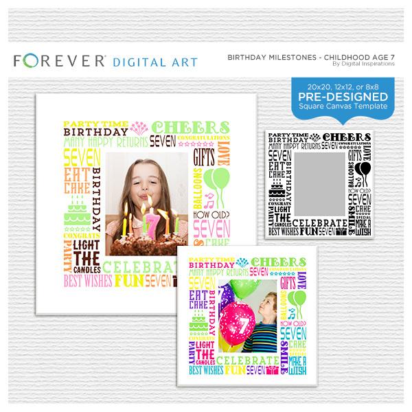 Birthday Milestones - Childhood Age 7 Digital Art - Digital Scrapbooking Kits