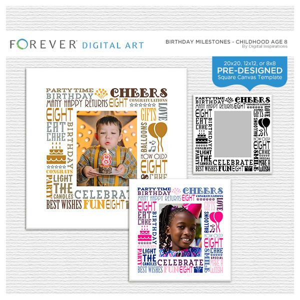 Birthday Milestones - Childhood Age 8 Digital Art - Digital Scrapbooking Kits