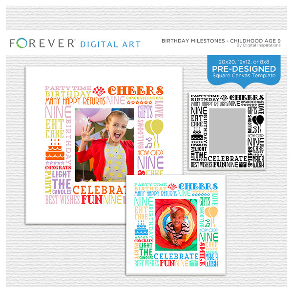 Birthday Milestones - Childhood Age 9 Digital Art - Digital Scrapbooking Kits
