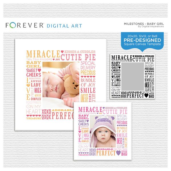 Milestones - Baby Girl Subway Art Canvas Digital Art - Digital Scrapbooking Kits