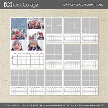 12x18 Classic Calendar 1 2019 Digital Art - Digital Scrapbooking Kits