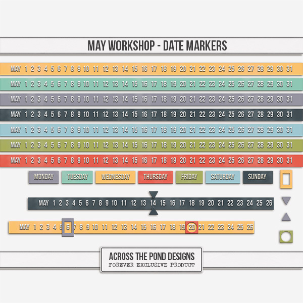 May Workshop - Date Markers Digital Art - Digital Scrapbooking Kits