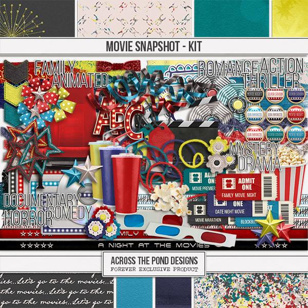 Movies Snapshot - Page Kit Digital Art - Digital Scrapbooking Kits